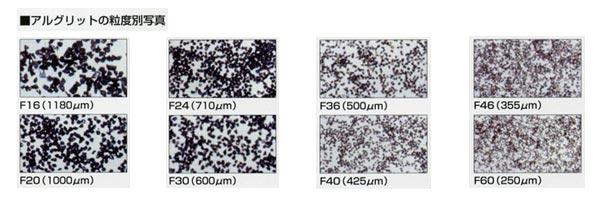 アルグリットの粒度別写真